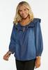 Plus Size Convertible Chambray Poet Top alt view