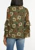 Plus Size Olive Mesh Floral Top alternate view