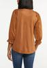 Plus Size Faux Suede Ruffled Top alternate view