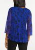 Plus Size Blue Pleated Floral Top alternate view