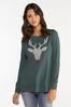 Plus Size Beaded Reindeer Sweatshirt alternate view