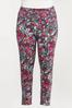Plus Size Fuchsia Sketch Floral Leggings alternate view