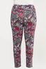 Plus Size Fuchsia Sketch Floral Leggings alt view