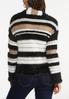 Plus Size Fuzzy Striped Cardigan Sweater alternate view