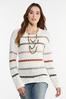 Plus Size Striped Popcorn Sweater alternate view