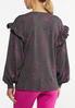 Plus Size Floral Ruffled Trim Sweatshirt alternate view