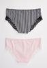 Plus Size Striped Hipster Panty Set alternate view
