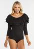 Plus Size Ruffled Off Shoulder Bodysuit alt view