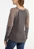 Plus Size Animal Sleeve Thermal Top alternate view
