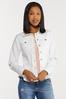 Plus Size White Peplum Denim Jacket alternate view