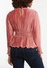 Plus Size Pleated Satin Rose Top alternate view
