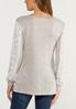 Plus Size Oatmeal Lace Sleeve Top alternate view