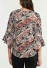 Plus Size Paisley Bell Sleeve Top alternate view