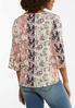 Plus Size Floral Cutout Sleeve Top alternate view