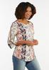 Plus Size Floral Cutout Sleeve Top alt view