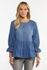 Plus Size Tiered Chambray Top alternate view