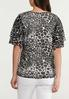 Plus Size Animal Flutter Sleeve Top alternate view