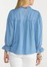 Chambray Ruffled Neck Top alternate view