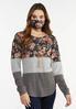 Plus Size Floral Colorblock Top Mask Set alternate view