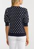 Navy Polka Dot Puff Sleeve Sweater alternate view