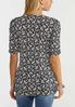Plus Size Navy Floral Puff Sleeve Top alternate view