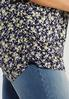 Plus Size Navy Floral Puff Sleeve Top alt view