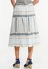 Tiered Mixed Stripe Midi Skirt alternate view
