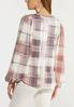 Rosy Plaid Balloon Sleeve Top alternate view