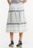 Plus Size Tiered Mixed Stripe Midi Skirt alternate view