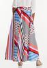 Plus Size Geo Block Stripe Maxi Skirt alternate view