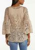 Plus Size Tan Crochet Peplum Top alternate view