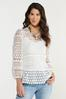 Plus Size White Crochet Top alternate view