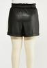 Plus Size Faux Leather Paperbag Shorts alternate view