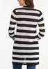Plus Size Sheer Contrast Stripe Cardigan alternate view