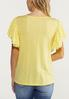 Plus Size Yellow Lace Flutter Sleeve Top alternate view