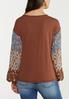 Plus Size Contrast Floral Sleeve Top alternate view