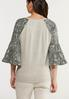 Plus Size Printed Flutter Sleeve Top alternate view