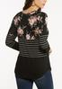 Plus Size Criss Cross Striped Floral Top alternate view