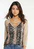 Lace Up Snake Print Top alt view