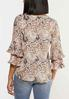 Plus Size Paisley Pleated Sleeve Top alternate view