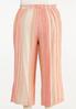 Plus Size Coral Stripe Linen Cropped Pants alternate view