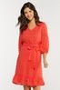 Plus Size Textured Dot Tie Waist Dress alternate view
