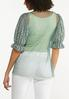 Plus Size Green Mesh Puff Sleeve Top alternate view