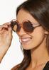 Lucite Tortoise Round Sunglasses alt view