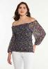 Floral Ruched Mesh Top alt view