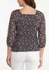 Plus Size Floral Ruched Mesh Top alternate view