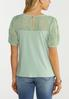 Plus Size Green Embroidered Puff Sleeve Top alternate view