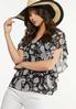Ruffled Contrast Paisley Top alt view
