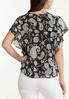 Plus Size Ruffled Contrast Paisley Top alternate view
