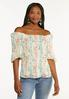 Plus Size Floral Puff Sleeve Top alt view